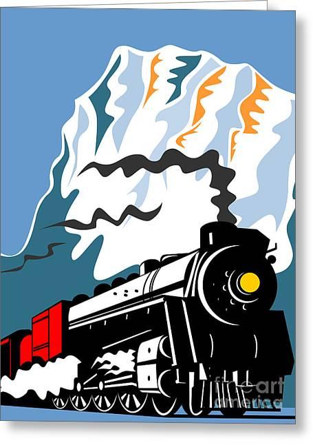 Steam Train Greeting Card by Aloysius Patrimonio