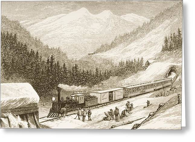 Road Travel Drawings Greeting Cards - Steam Train Carrying Us Mail Across Greeting Card by Ken Welsh