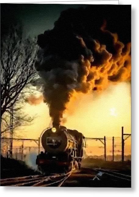 Abstract Digital Pastels Greeting Cards - Steam Train Memories Catus 1 no. 2 H B Greeting Card by Gert J Rheeders
