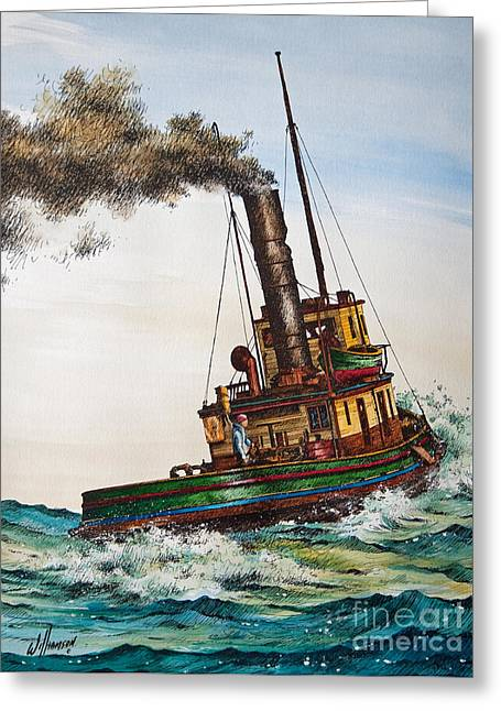 Artist James Williamson Maritime Print Greeting Cards - Steam Tug Alice Greeting Card by James Williamson