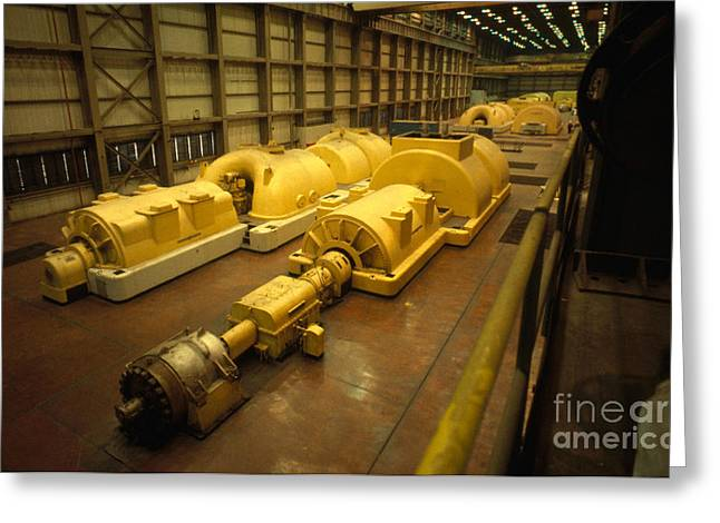 Generators Greeting Cards - Steam Turbine And Generator In Power Greeting Card by Bill Longcore