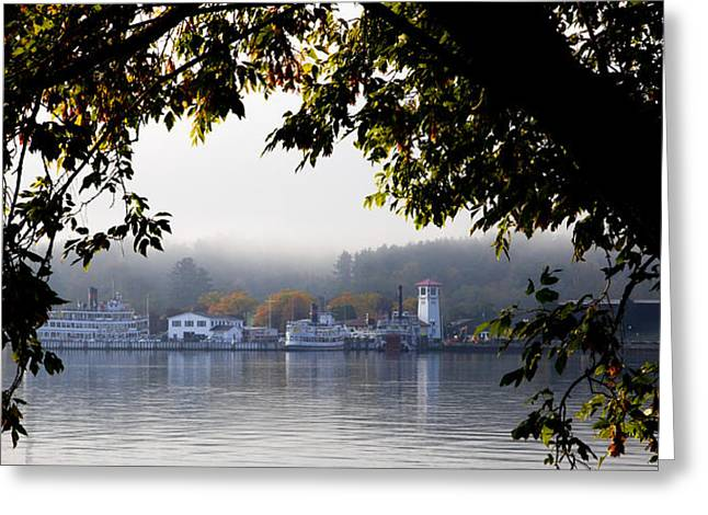 Steamboat Greeting Cards - Steamboats on Lake George Greeting Card by David Patterson