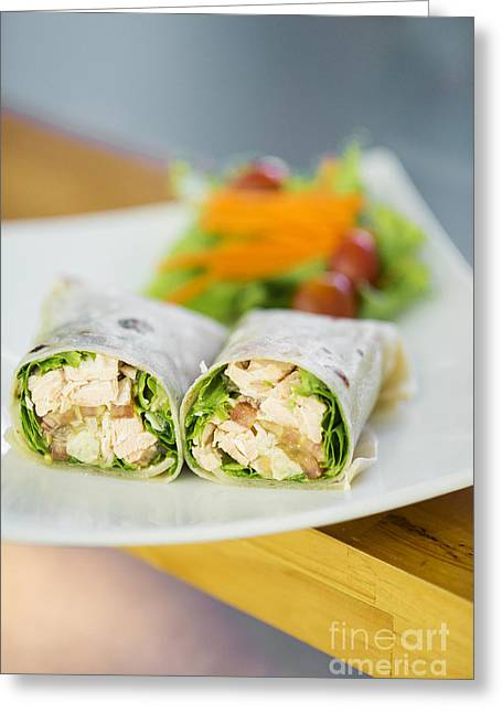 Conscious Greeting Cards - Steamed Salmon And Salad Wrap Greeting Card by Jacek Malipan