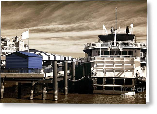 Steamer Natchez Infrared Greeting Card by John Rizzuto