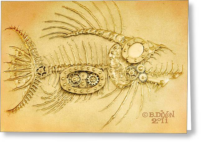 Fish Reliefs Greeting Cards - Steamfish 3 Greeting Card by Baron Dixon