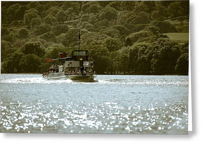 Steaming Across The Lake Greeting Card by Andy Smy