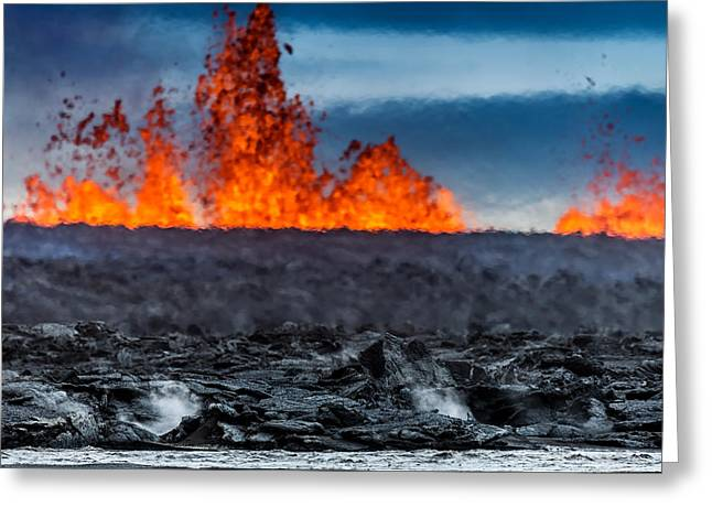 Steaming Greeting Cards - Steaming Lava And Plumes Greeting Card by Panoramic Images