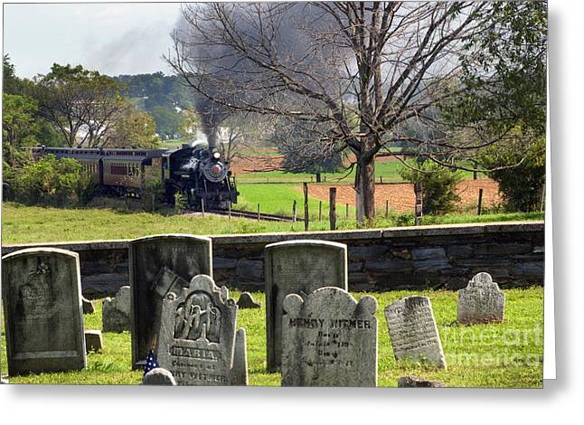 Strasburg Greeting Cards - Steaming past the old Amish Cemetery Greeting Card by Paul W Faust -  Impressions of Light