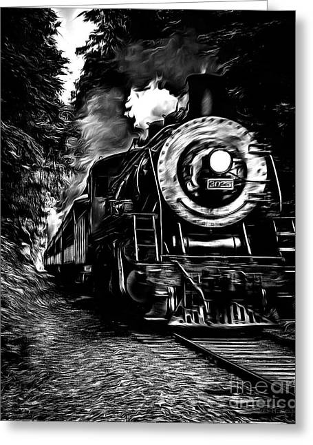 Train Drawing Greeting Cards - Steaming through the Pass Greeting Card by Edward Fielding