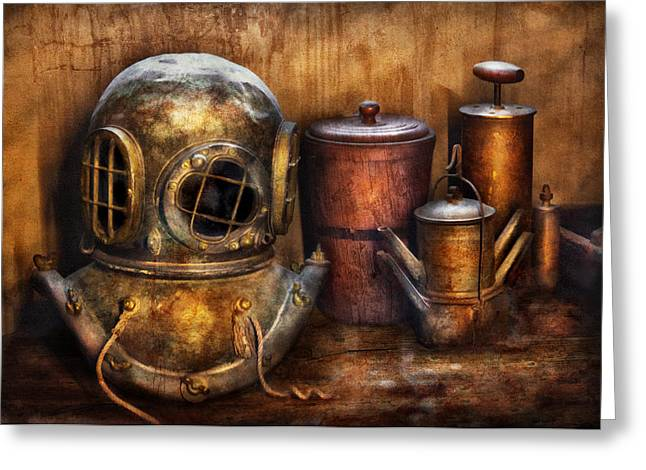 Diving Helmet Greeting Cards - Steampunk - A collection from my Journeys Greeting Card by Mike Savad