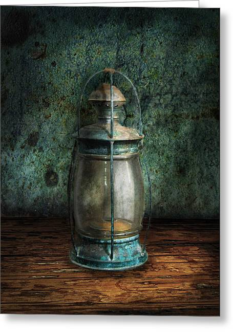 Hurricane Lamp Greeting Cards - Steampunk - An old lantern Greeting Card by Mike Savad