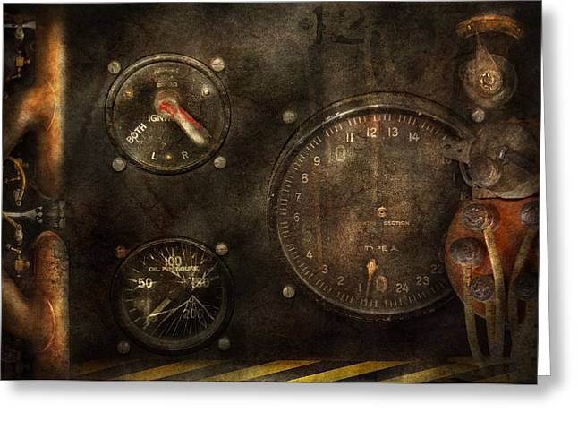 Steampunk - Check Your Pressure Greeting Card by Mike Savad