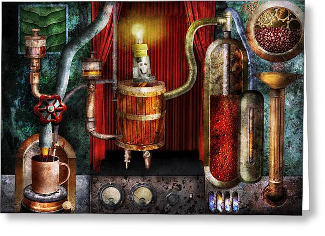 Steampunk - Coffee Break Greeting Card by Mike Savad