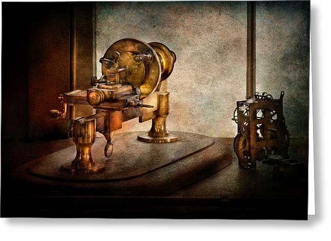 Age Of Invention Greeting Cards - Steampunk - Gear Technology Greeting Card by Mike Savad
