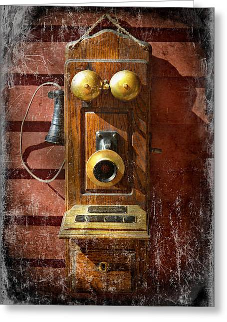 Customizable Greeting Cards - Steampunk - Phone Phace  Greeting Card by Mike Savad