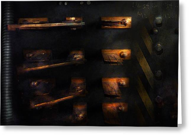 Mechanism Photographs Greeting Cards - Steampunk - Pull the Switch Greeting Card by Mike Savad