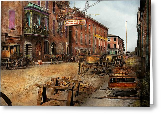 Steampunk - Archibald Mcleish's Vulcan Iron Works 1865 Greeting Card by Mike Savad