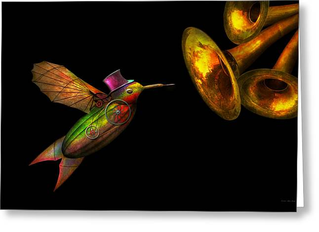 Mechanical Revolution Greeting Cards - Steampunk - Bird - Apodiformes Centrifigalus Greeting Card by Mike Savad