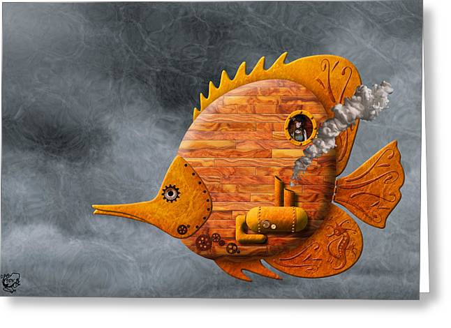 Wooden Ship Mixed Media Greeting Cards - Steampunk Butterflyfish II Greeting Card by Stephen Kinsey