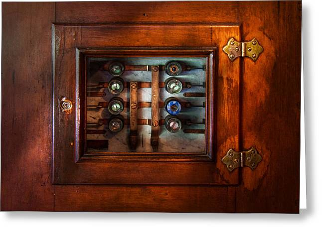 Mechanism Photographs Greeting Cards - Steampunk - Electrical - The fuse panel Greeting Card by Mike Savad