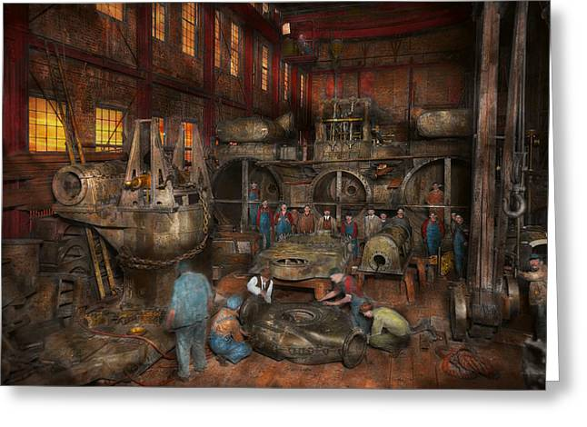 Steam Ship Greeting Cards - Steampunk - Final inspection 1915 Greeting Card by Mike Savad