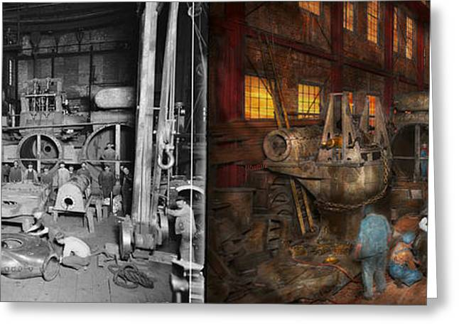 Steampunk - Final Inspection 1915 - Side By Side Greeting Card by Mike Savad