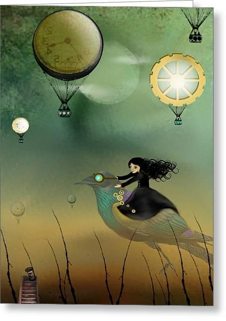 Goth Girl Greeting Cards - Steampunk Flight of Fantasy Greeting Card by Charlene Zatloukal