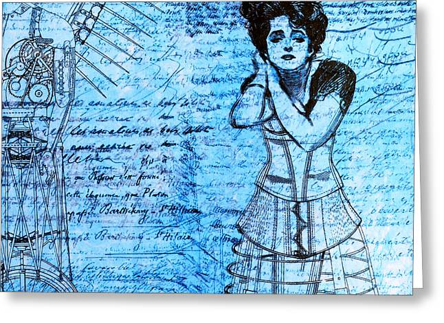 Line Drawing Greeting Cards - Steampunk Girls in Blues Greeting Card by Nikki Marie Smith