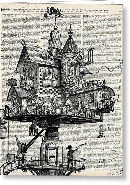 Art Book Greeting Cards - Steampunk house Greeting Card by Jacob Kuch