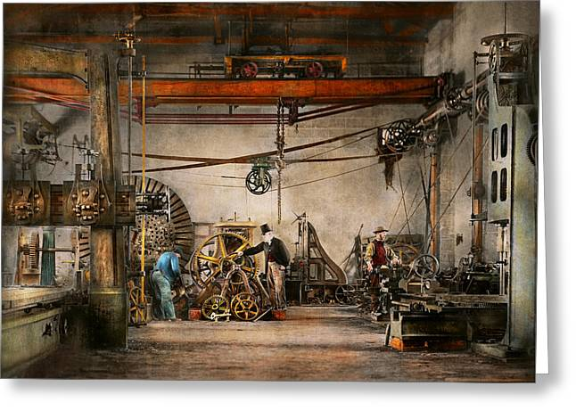 Steampunk - In An Old Clock Shop 1866 Greeting Card by Mike Savad