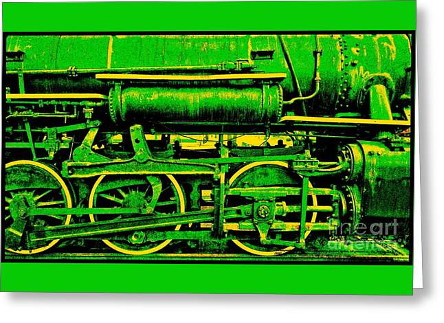 Green And Yellow Greeting Cards - Steampunk Iron Horse No. 3 Greeting Card by Peter Gumaer Ogden