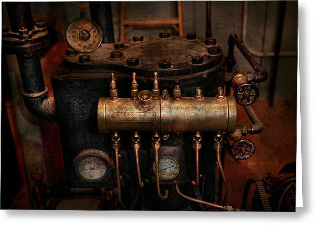 Steampunk - Plumbing - The valve matrix Greeting Card by Mike Savad