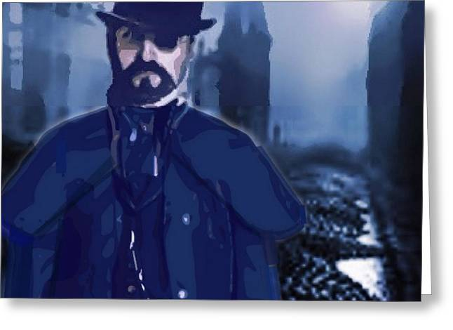 Eerie Greeting Cards - Steampunk Portrait London Fog Greeting Card by Larry Lamb