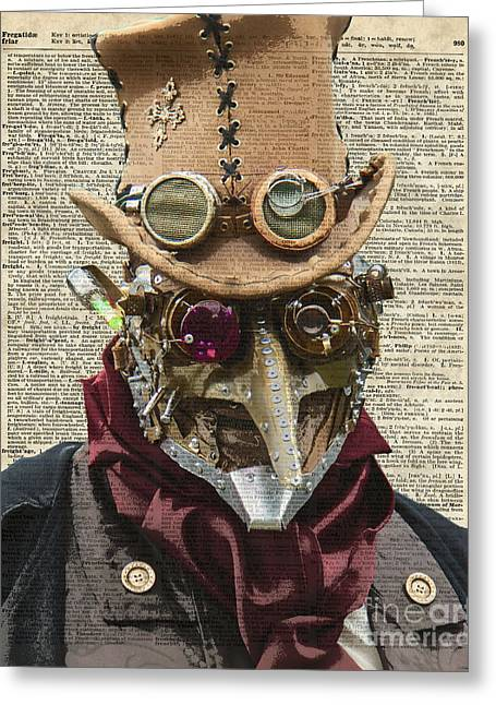Home Decor Posters Mixed Media Greeting Cards - Steampunk robot Greeting Card by Jacob Kuch