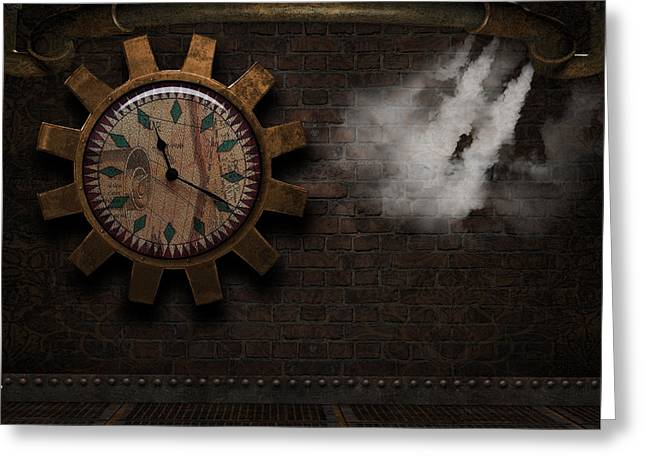 Industrial Background Greeting Cards - Steampunk Room Greeting Card by Suzanne Amberson