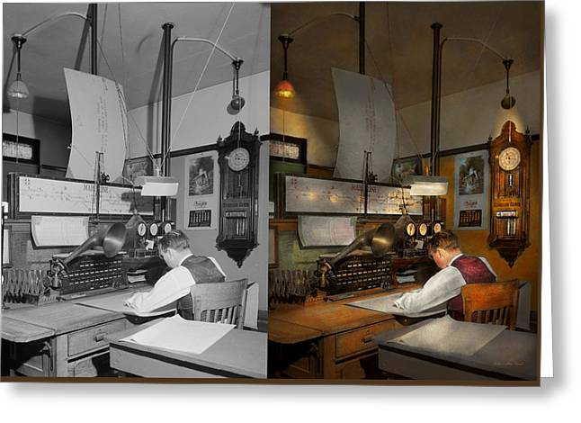 Steampunk - Rr - The Train Dispatcher 1943 Side By Side Greeting Card by Mike Savad