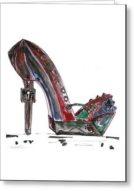 Red Drawings Greeting Cards - Steampunk Shoe Greeting Card by Marian Voicu