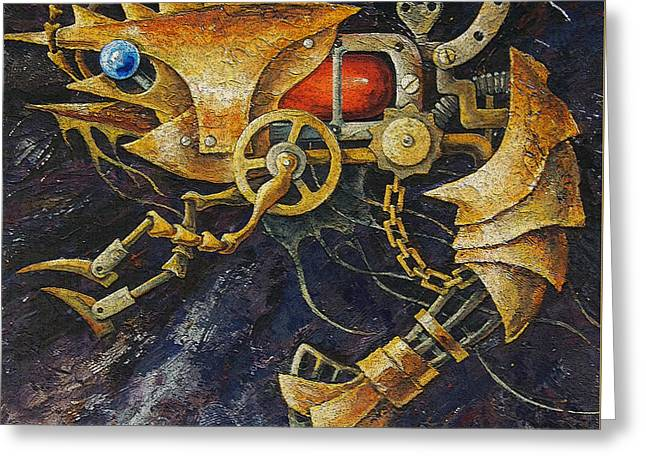 Decorative Fish Greeting Cards - Steampunk Shrimp Greeting Card by Irina Pankevich