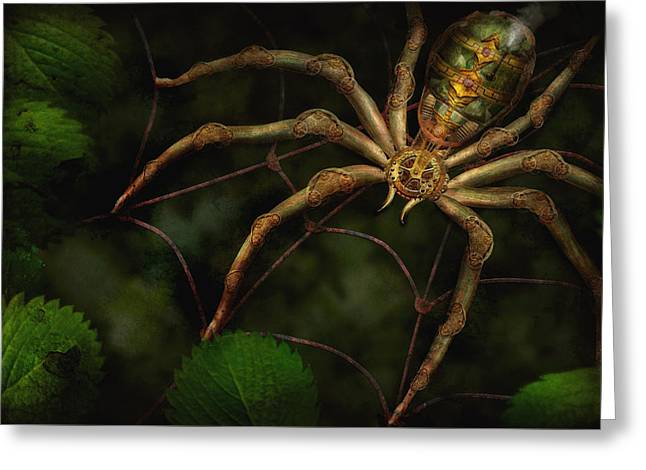 I Hate Greeting Cards - Steampunk - Spider - Arachnia Automata Greeting Card by Mike Savad