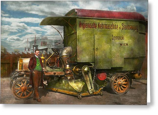 Person Greeting Cards - Steampunk - Street Cleaner - The hygiene machine 1910 Greeting Card by Mike Savad