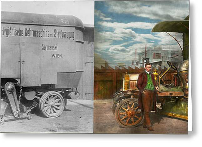Garbage Truck Greeting Cards - Steampunk - Street Cleaner - The hygiene machine 1910 - Side by Side Greeting Card by Mike Savad