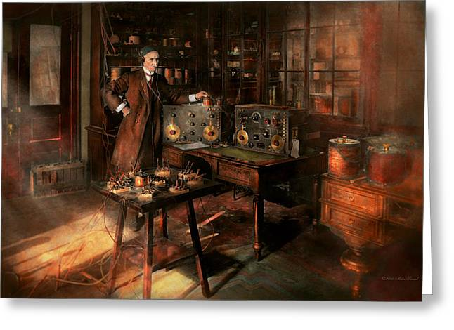 Person Greeting Cards - Steampunk - The time traveler 1920 Greeting Card by Mike Savad