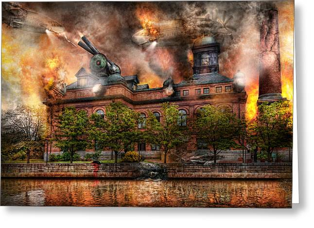 Steampunk - The War Has Begun Greeting Card by Mike Savad