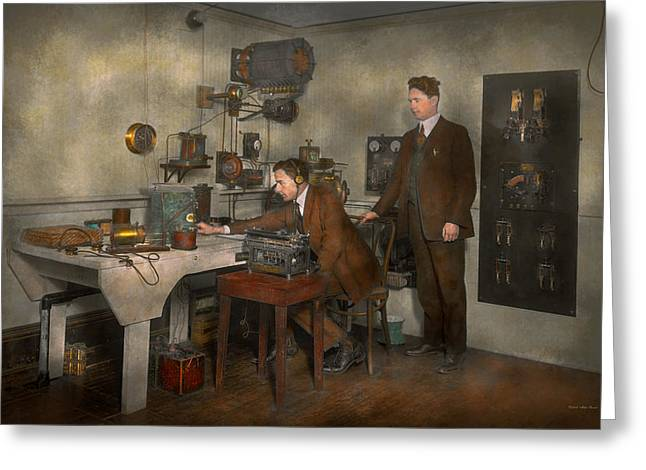 Typewriter Greeting Cards - Steampunk - The wireless apparatus - 1905 Greeting Card by Mike Savad