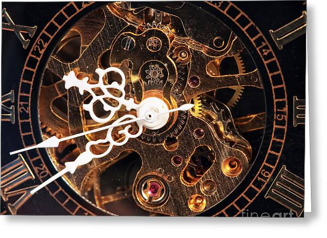 Clock Hands Greeting Cards - Steampunk Time Greeting Card by John Rizzuto