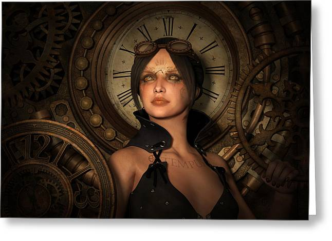 Steampunk Time Keeper Greeting Card by Britta Glodde