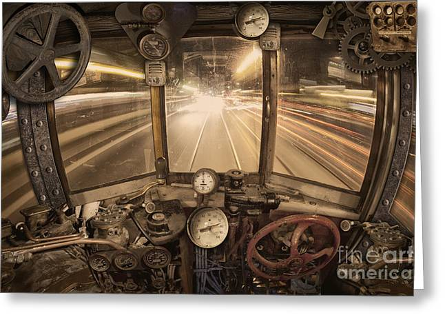 Gauge Greeting Cards - Steampunk Time Machine Greeting Card by Keith Kapple