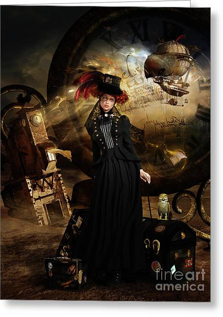Steampunk Time Traveler Greeting Card by Shanina Conway