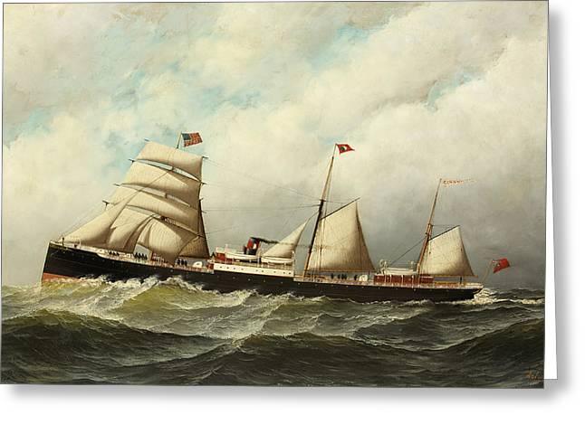 Steamship   Cornwall Greeting Card by Antonio Jacobsen