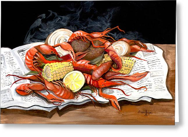 Cajun Greeting Cards - Steamy Crawfish Greeting Card by Elaine Hodges
